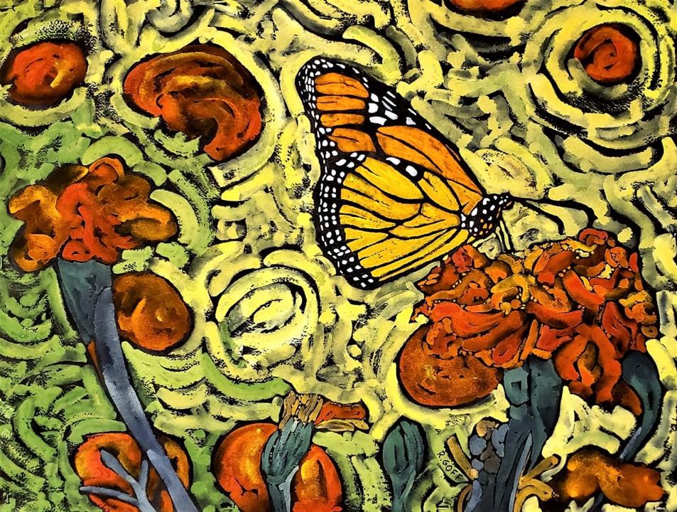 Monarch and Marigolds-Richard Goff